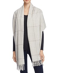 Bloomingdale's C By Bloomingdales Glen Plaid Cashmere Woven Wrap Scarf 100 Exclusive Ivory Gray