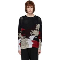 Isabel Benenato Black And Multicolor Knit Sweater