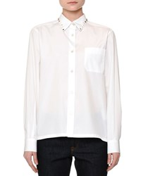 Red Valentino Long Sleeve Rockstud Trim Blouse White Women's