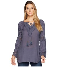Scully Carrie Tie Front Blouse W Lace Crochet Insets Wedgewood Blue Clothing
