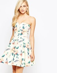 Ax Paris Bandeau Dress With Kick Out Skirt In Tropical Floral Multi