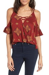 Sun And Shadow Women's Cold Shoulder Surplice Top