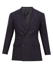 Thom Sweeney Chalk Stripe Double Breasted Wool Suit Navy