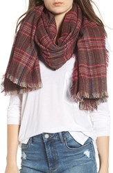 Sole Society Checkered Scarf Oxblood