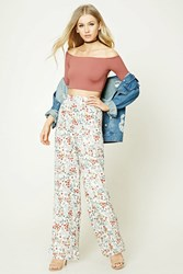 Forever 21 Floral Wide Leg Pants Cream Multi