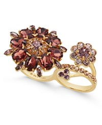 Kate Spade New York Gold Tone Floral Crystal Two Finger Ring Purple Multi