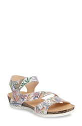 Think Women's 'Dumia' Three Strap Sandal White Nubuck Leather