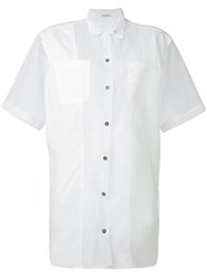 Tomas Maier Sheer Short Sleeve Shirt Women Cotton 6 White