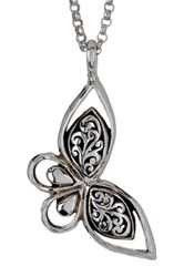 Lois Hill Sterling Silver Butterfly Signature Scroll Pendant Necklace Metallic