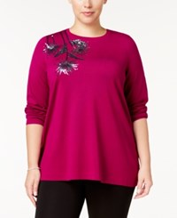 Alfani Plus Size Sequined Sweater Created For Macy's Mod Magenta