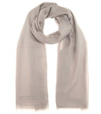 Burberry Embroidered Cashmere Scarf Grey