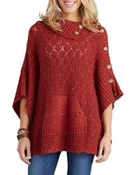 Democracy Textured Knit Poncho Copper