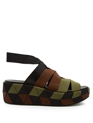 Salvatore Ferragamo Elettra Canvas Flatform Sandals Black Khaki