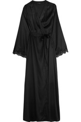 I.D. Sarrieri Tendresse Chantilly Lace Trimmed Silk Blend Satin Robe Black