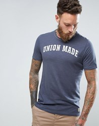 Jack And Jones Vintage T Shirt With Union Made Print Ombre Blue Navy