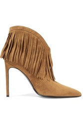 Saint Laurent Fringed Suede Ankle Boots Light Brown