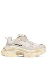 Balenciaga 60Mm Triple S Nylon And Leather Sneakers White