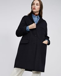 Aspesi Wool Cashmere Coat Navy Blue