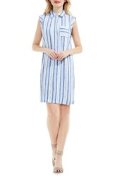 Vince Camuto Women's Two By Stripe Linen Blend Shirtdress
