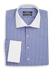 Saks Fifth Avenue Slim Fit Stripe Linen And Cotton Dress Shirt Navy
