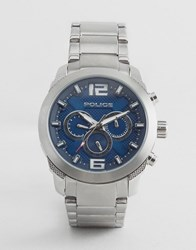 Police Quartz Watch With Blue Dial Chronograph Display Silver