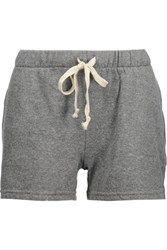 Current Elliott The Gathered Knit Cotton Blend Jersey Shorts Anthracite