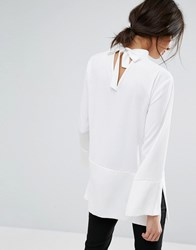 Jaeger Tie Neck Detail Tunic Ivory White