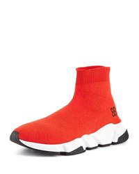 Balenciaga Speed Mid Top Trainer Sock Sneaker Red