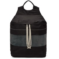 Rick Owens Drkshdw Black And Blue Twill Backpack