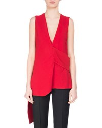 Victoria Beckham Sleeveless Asymmetric Crepe Blouse Red