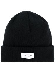 Soulland Ribbed Logo Beanie Wool Black