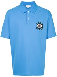 Ck Calvin Klein Eye Embroidered Polo Shirt Blue