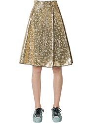 Odeeh Lame Silk Hearts Jacquard Skirt