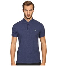 The Kooples Sport Classic Officer Collar Polo Blue Men's Short Sleeve Pullover