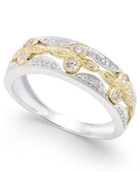 Macy's Diamond Flower Ring 1 4 Ct. T.W. In 14K Gold And White Gold
