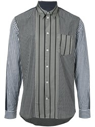 Golden Goose Deluxe Brand Striped And Checked Shirt Black