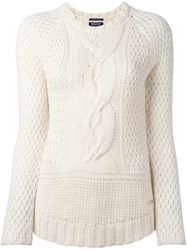Woolrich Cable Knit Jumper White