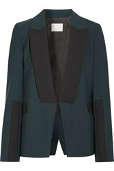 Dion Lee Asymmetric Wool Trimmed Stretch Crepe Blazer Forest Green