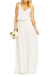 Show Me Your Mumu Women's 'Kendall' Soft V Back A Line Gown Wedding Cake Chiffon