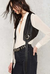 Nasty Gal Kickin' Up Dust Leather Bolo Vest