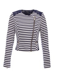 Morgan Striped Lace Detail Jacket Navy
