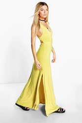Boohoo Racer Back Strappy Maxi Dress Chartreuse