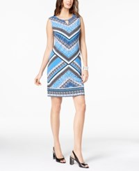 Jm Collection Printed Keyhole Sheath Dress Beach Blue Global Borders