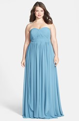 Jenny Yoo Plus Size Women's 'Aidan' Convertible Strapless Chiffon Gown Turkish Blue
