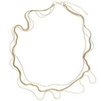 John Lewis 3 Row Long Necklace Gold