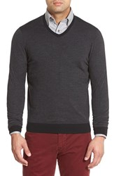Men's John W. Nordstrom Regular Fit Stripe V Neck Sweater Black Caviar Stripe