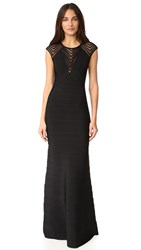 Herve Leger Maribel Cap Sleeve Gown Black