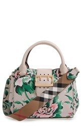 Burberry Small Buckle Floral Calfskin Leather Satchel