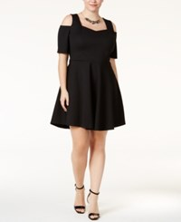 Monteau Trendy Plus Size Fit And Flare Party Dress Black