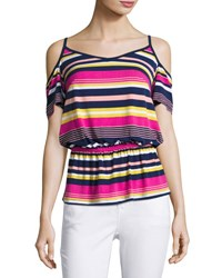 Laundry By Shelli Segal Striped Cold Shoulder Top Multi